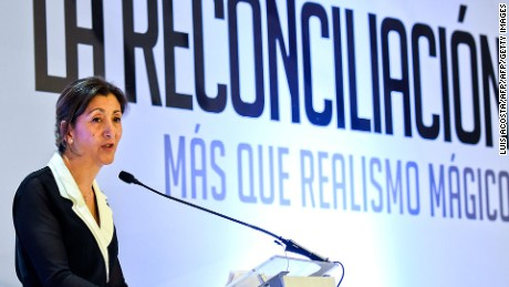 """French-Colombian politician and former hostage Ingrid Betancourt speaks during the forum """"The Reconciliation, more than Magic Realism"""" in Bogota on May 5, 2016.  / AFP / LUIS ACOSTA        (Photo credit should read LUIS ACOSTA/AFP/Getty Images)"""