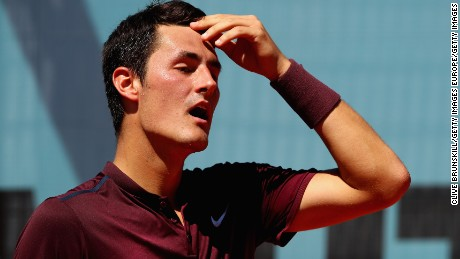 Bernard Tomic lost in straight sets to Fabio Fognini at the Madrid Open.