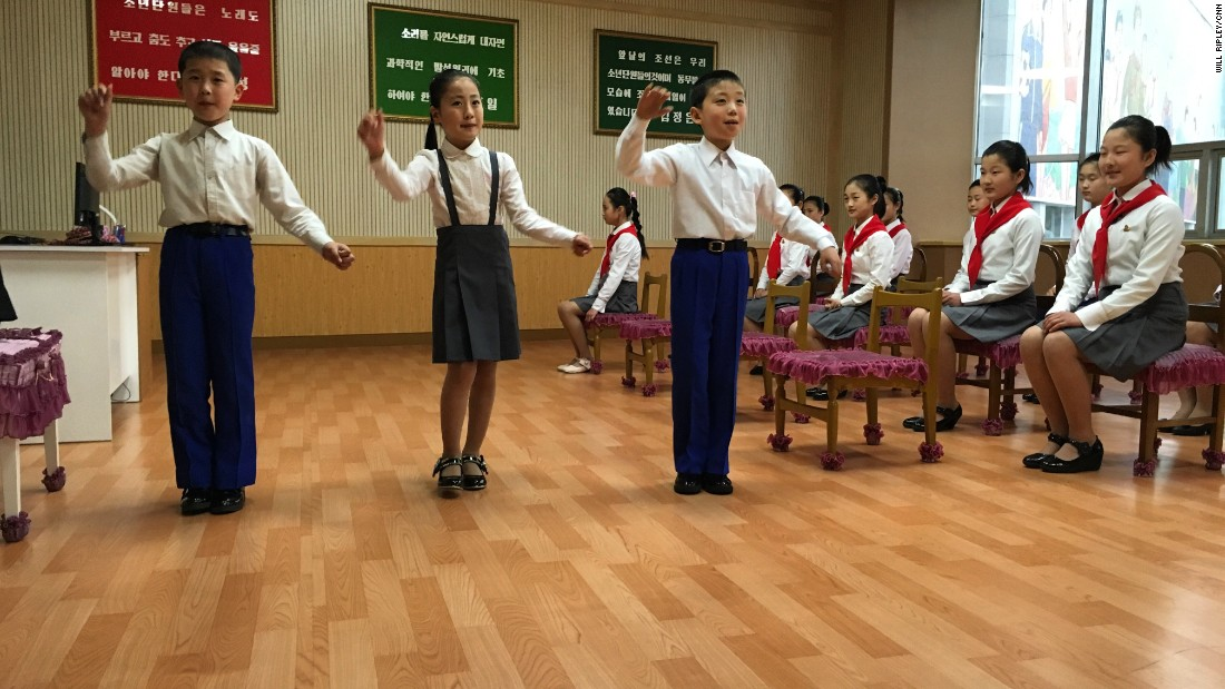 "Young singers practice their performance at the ""children's palace"" in Pyongyang."