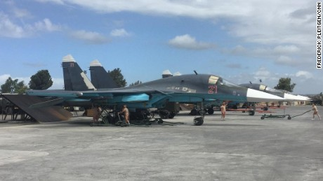 Two Russian SU-34s on the tarmac at Hmeimim base in northern Syria.