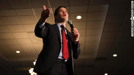ANDOVER, MN- MARCH 1: Republican presidential candidate Sen. Marco Rubio (R-Fla.) speaks to a crowd of supporters Courtyards of Andover Event Center in Andover, MN. Rubio is hoping to win Minnesota in the Super Tuesday primary election. (Photo by Stephen Maturen/Getty Images)