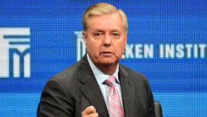 "Lindsay Graham, US Senator, South Carolina, speaks during the lunch programme panel ""ISIS and Global Terrorism: What It Will Take to Defeat Them"" at the 2016 Milken Institute Global Conference in Beverly Hills, California on May 3, 2016. / AFP / FREDERIC J. BROWN        (Photo credit should read FREDERIC J. BROWN/AFP/Getty Images)"