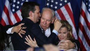 INDIANAPOLIS, IN - MAY 03:  Republican presidential candidate, Sen. Ted Cruz (R-TX) hugs his father, Rafael Cruz and wife Heidi Cruz after announcing the suspension of his campaign during an election night watch party at the Crowne Plaza Downtown Union Station on May 3, 2016 in Indianapolis, Indiana. Cruz lost the Indiana primary to Republican rival Donald Trump.  (Photo by Joe Raedle/Getty Images)
