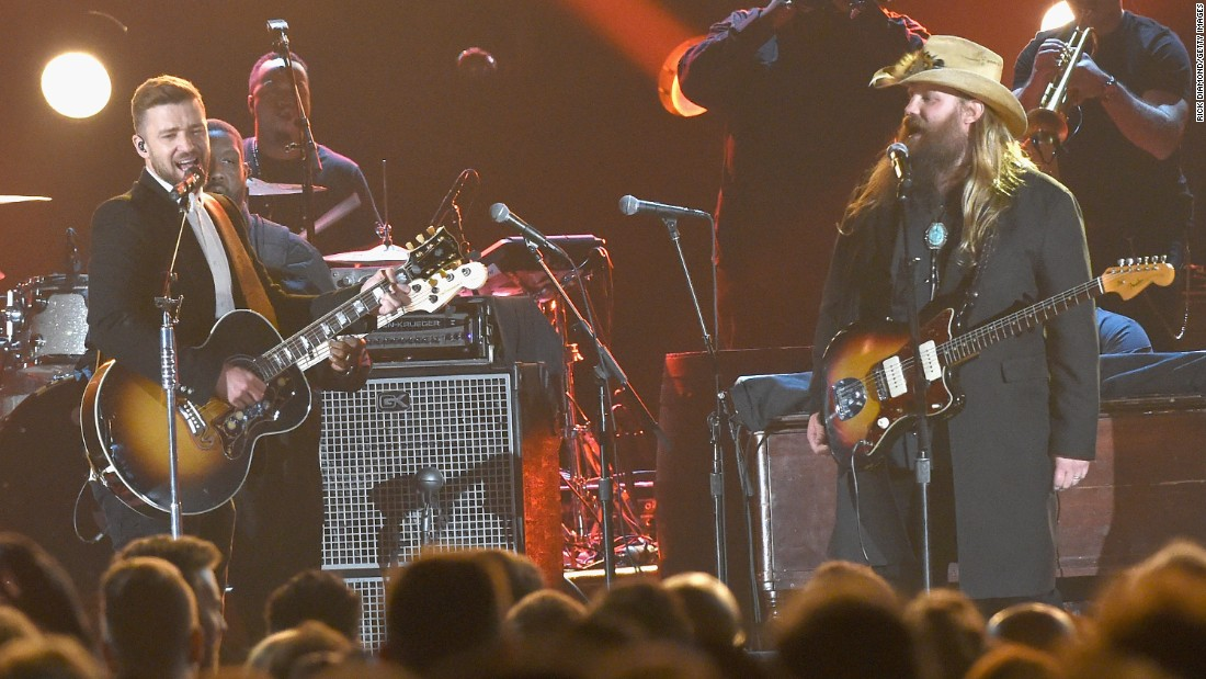 Timberlake joins Chris Stapleton at the CMA Awards in November.