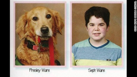 Presley, a service dog, appears alongside her companion, seventh grader Seph Ware.