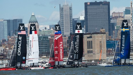 Sailboats manuever for position durung the start of the first race of the Louis Vuitton America's Cup World Series New York May 8, 2016 in New York. / AFP / DON EMMERT        (Photo credit should read DON EMMERT/AFP/Getty Images)