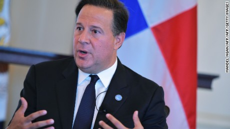 Panama's President Juan Carlos Varela delivers keynote address at a luncheon during the Washington Conference on the Americas at the State Department on May 3, 2016 in Washington, DC. / AFP / Mandel NGAN        (Photo credit should read MANDEL NGAN/AFP/Getty Images)