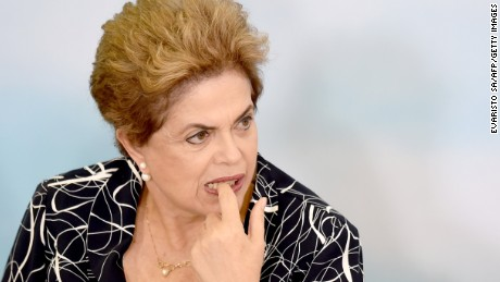 Brazilian President Dilma Rousseff attends the launching ceremony of a new stage of the state-subsidized housing program at Planalto Palace in Brasilia on May 6, 2016.