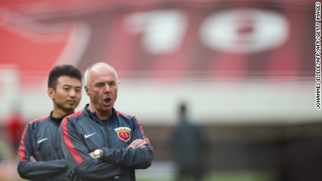 Former England manager Sven-Goran Eriksson coaches Shanghai SIPG in the Chinese Super League.