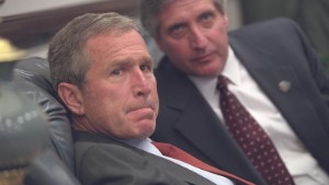 President George W. Bush and Chief of Staff Andy Card talk privately after arriving at Barksdale Air Force Base in Louisiana Tuesday, Sept. 11, 2001.   Photo by Eric Draper, Courtesy of the George W. Bush Presidential Library & Museum