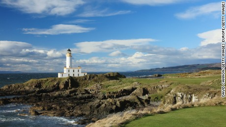TURNBERRY, SCOTLAND - APRIL 26:  A view looking from the tee on the new par 3, 9th hole of the Ailsa Course 'Reborn' at the Trump Turnberry Resort after the re-design work carried out by course designer Martin Ebert on April 26, 2016 in Turnberry, Scotland.  (Photo by David Cannon/Getty Images)