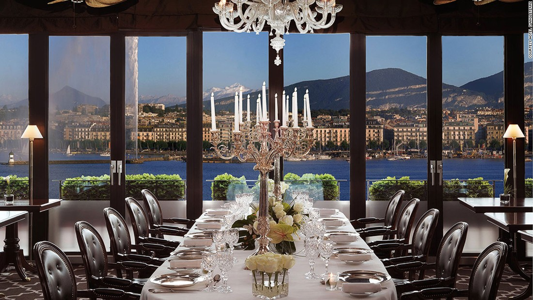 Overlooking Lake Geneva's Jet d'Eau fountain, the Hotel d'Angleterre's Windows restaurant has incredible views through floor-to-ceiling panes of glass.