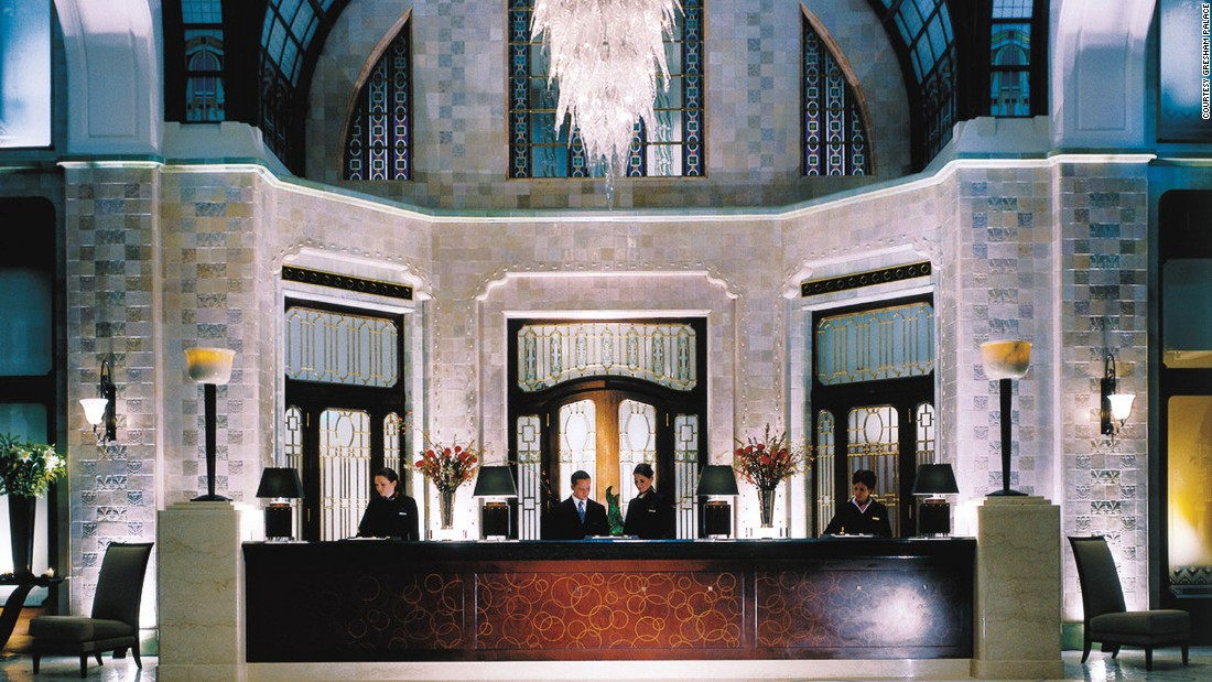 The Gresham's lobby is a work of art, with a Moorish glass-domed ceiling and dazzling, spiked-glass chandelier.