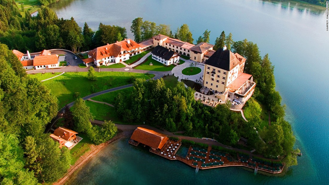This 15th-century hunting lodge sits on the shores of Lake Fuschl, where the resort's private jetty provides the launch point for a wooden boat ride.