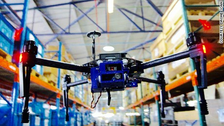 drone scan in a warehouse flying