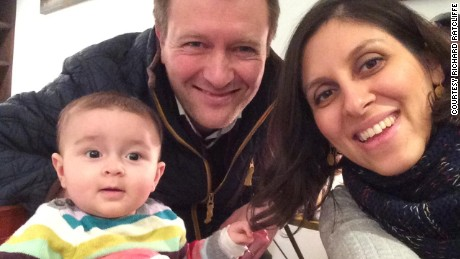 Nazanin Zaghari-Ratcliffe(far right) has apparently been arrested in Iran. She is pictured here with her husband Richard and daughter Gabriella.