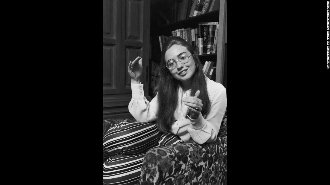 Before she married Bill Clinton, she was Hillary Rodham. Here she is attending Wellesley College in Wellesley, Massachusetts. She graduated in 1969 and spoke at the commencement ceremony. After Wellesley, she attended Yale Law School.