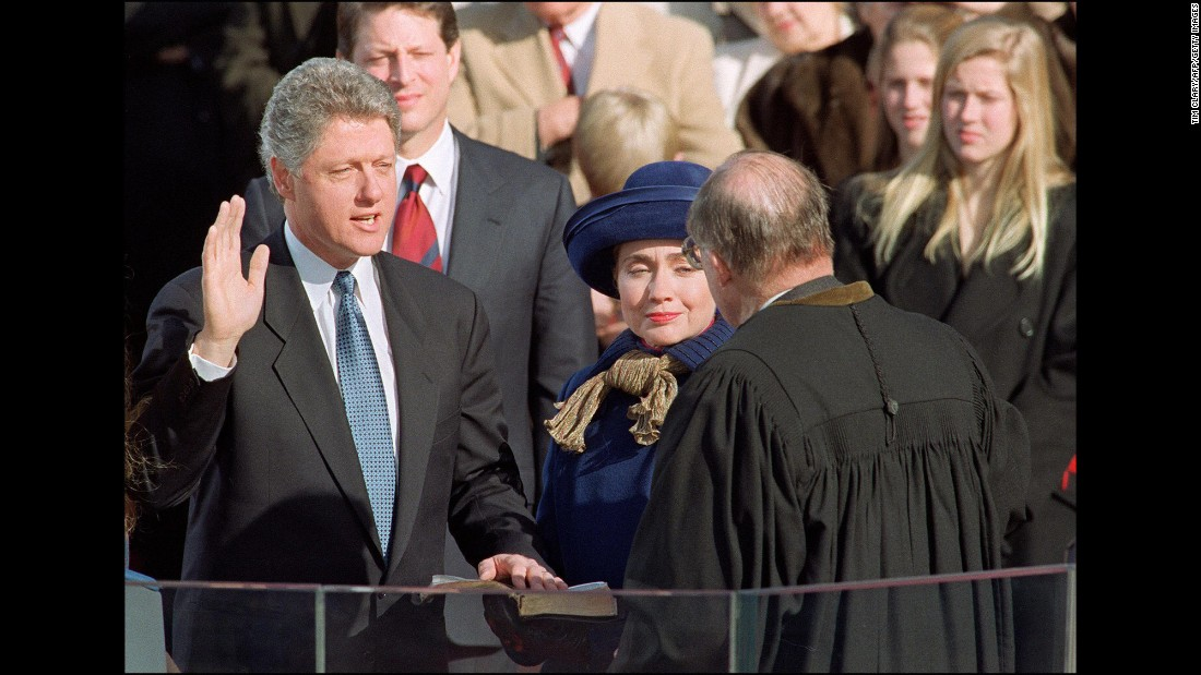 Clinton accompanies her husband as he takes the oath of office in January 1993.