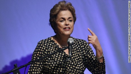 BRASILIA, BRAZIL - MAY 10:  Embattled Brazilian President Dilma Rousseff speaks at a women's rights conference on May 10, 2016 in Brasilia, Brazil. Rousseff is facing an impeachment vote in the Senate tomorrow that could force her to step down from the presidency for 180 days and face trial.  (Photo by Mario Tama/Getty Images)