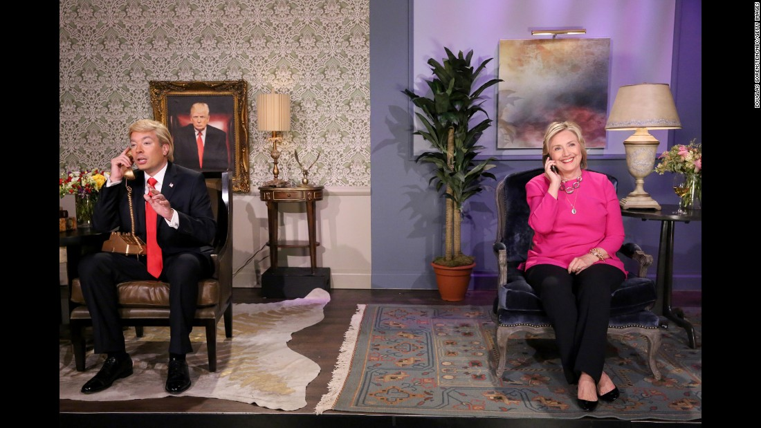 "Clinton, now running for President again, performs with Jimmy Fallon during a ""Tonight Show"" skit in September."