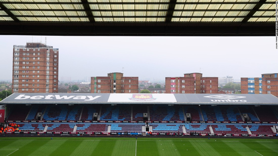 This view of the stadium shows the council estate blocks which get a view of the action on match day.