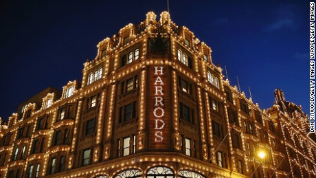LONDON, ENGLAND - DECEMBER 10:  A general view of Harrods department Store in Knightsbridge on December 10, 2014 in London, England. Many prominent retailers in the capital have produced elaborate festive window displays to entice shoppers ahead of Christmas.  (Photo by Dan Kitwood/Getty Images)