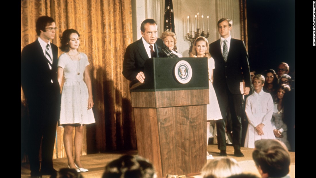 """<strong>Richard Nixon:</strong> In 1974, five years after he was first elected, Nixon became the first U.S. President to resign from office. He stepped down after the <a href=""""http://www.cnn.com/2015/06/15/living/the-seventies-times-reports-on-watergate/"""" target=""""_blank"""">Watergate scandal,</a> which stemmed from a break-in at the Democratic National Committee office during the 1972 presidential campaign."""