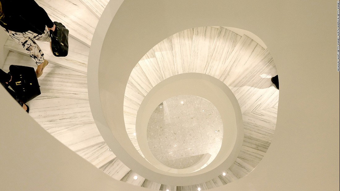 The sleek white spiral staircase is a centerpiece at the new Barneys New York store. Opened in 2016, the 5,388-square-meter venue offers a more intimate shopping experience than Barney's previous NYC store.
