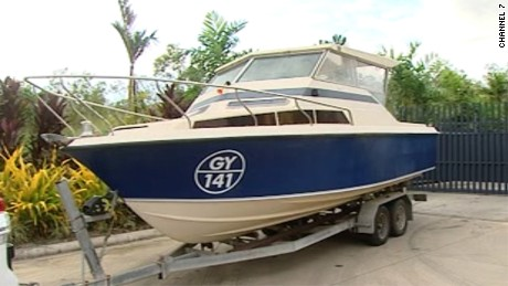 The seven-meter boat that authorities say five men were planning to flee Australia on. Australian Federal Police say the men were likely heading -- eventually -- to Syria to link up with extremist groups there.