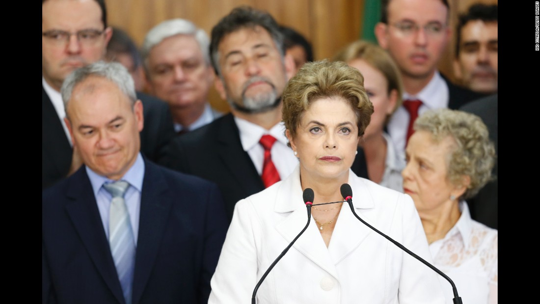 """Brazil's Dilma Rousseff was ousted from the presidency on August 31, 2016, when the <a href=""""http://www.cnn.com/2016/08/31/americas/brazil-rousseff-impeachment-vote/index.html"""">Senate voted 61-20 to find her guilty of breaking budgetary laws</a> in an impeachment trial. Rousseff had been suspended earlier. Here are other world leaders who left office before the end of their term, either by choice or by constitutional action:"""