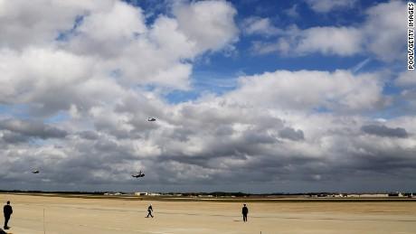 President Barack Obama lands on Marine One on October 14, 2014 at Andrew Air Force Base in Maryland.