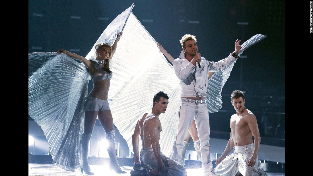 Bulgarian singer Miroslav Kostadinov tackles a dress rehearsal at Eurovision in 2010.