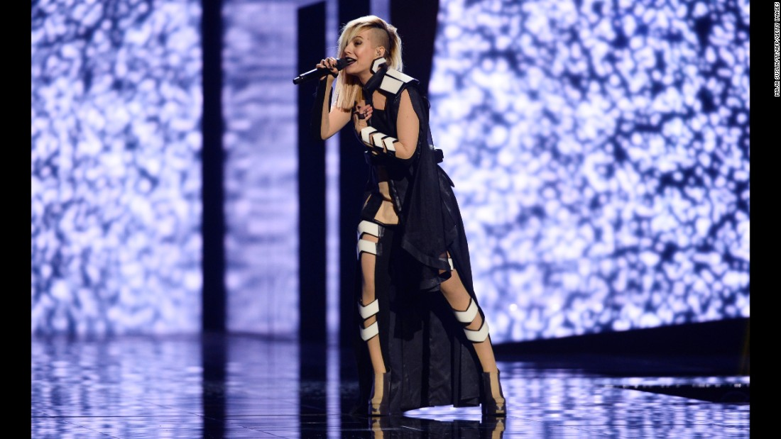 Bulgaria's Poli Genova belts out a song Wednesday, May 11, on the eve of the second semifinal of the Eurovision Song Contest.