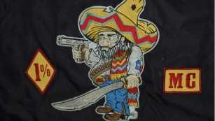 "The ""fat Mexican"" patch of the Bandidos, one of the largest motorcycle clubs."