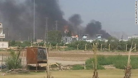 Smoke can be rising from the gas plant in the Taji area of Baghdad Sunday.