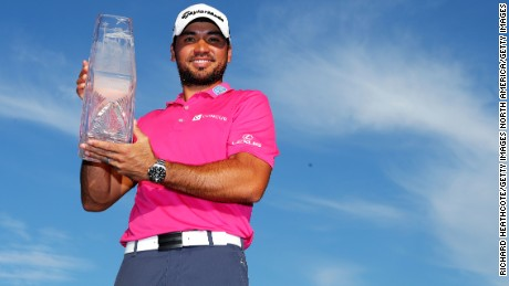 PONTE VEDRA BEACH, FL - MAY 15:  Jason Day of Australia celebrates with the trophy after winning during the final round of THE PLAYERS Championship at the Stadium course at TPC Sawgrass on May 15, 2016 in Ponte Vedra Beach, Florida.  (Photo by Richard Heathcote/Getty Images)