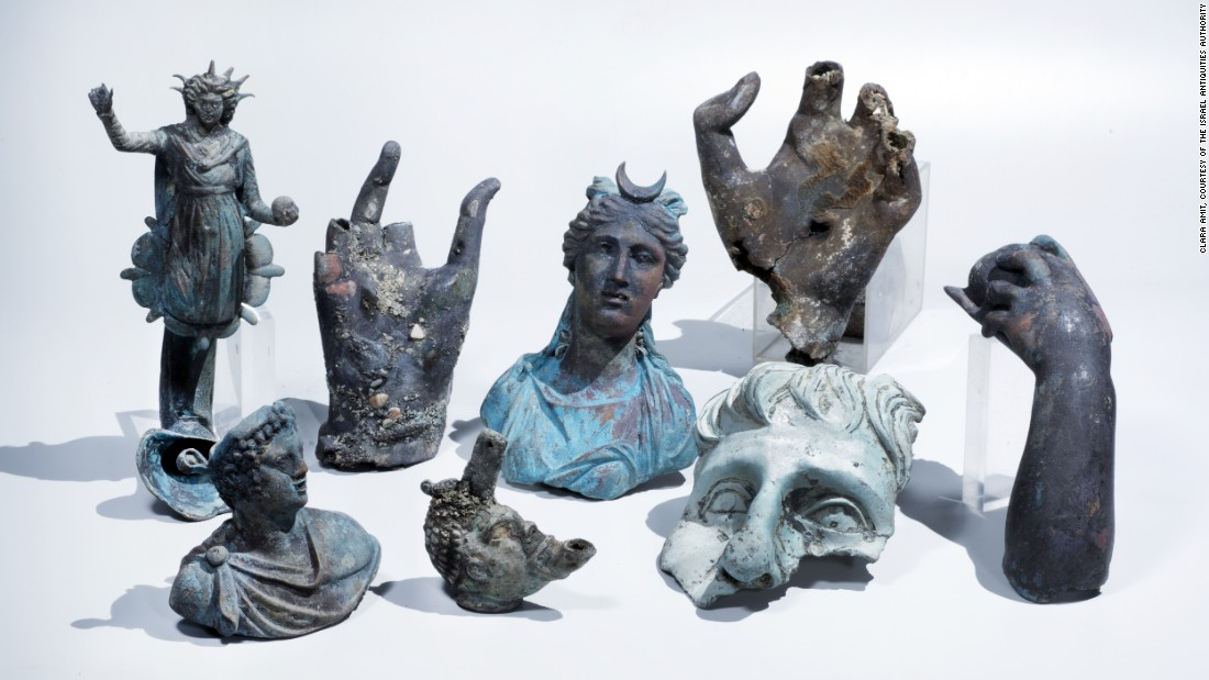 """In May 2016, divers <a href=""""http://edition.cnn.com/2016/05/16/middleeast/roman-coins-treasure-shipwreck-israel/"""">discovered</a> a 1,600-year-old shipwreck while swimming the ancient Roman port of Caesarea. These rare bronze artifacts were recovered from the ship."""