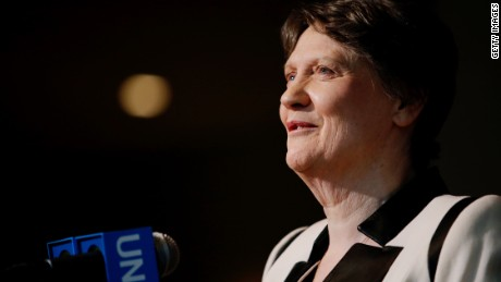 NEW YORK, NY - APRIL 14:  Former New Zealand Prime Minister Helen Clark speaks after a meeting as a candidate for United Nations (UN) secretary-general on April 14, 2016 in New York City.  At least eight candidates are running for the office - four men and four women. A woman selection would be the first for the UN.  (Photo by Eduardo Munoz Alvarez/Getty Images)
