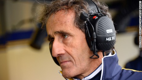 Alain Prost of the Renault E.Dams team attends the practice of the French stage of the Formula E championship around the Invalides in Paris on April 23, 2016. / AFP / BERTRAND GUAY        (Photo credit should read BERTRAND GUAY/AFP/Getty Images)