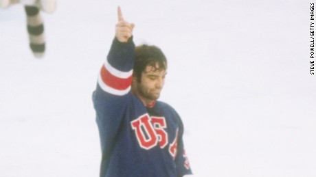 LAKE PLACID - FEBRUARY 24: Goalie Jim Craig of the United States hockey team celebrates after the victory over Finland to win the gold medal on February 24, 1980 at the 1980 Winter Olympics in Lake Placid, New York. (Photo by Steve Powell/Getty Images)