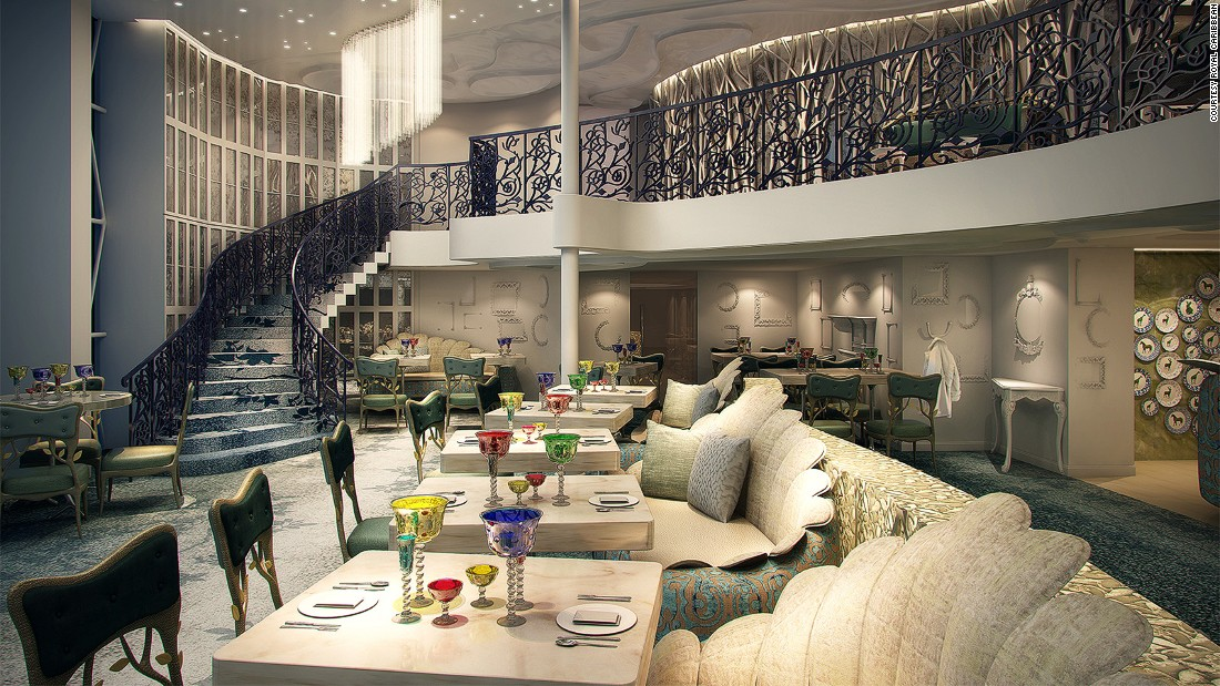 """Specialty restaurant Wonderland, already a hit on a few other Royal Caribbean vessels, has gotten an upgrade. """"It's been expanded on Harmony of the Seas,"""" says Tamis. """"It's actually a two-story venue that is going to be dramatically beautiful. """""""