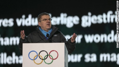 LILLEHAMMER, NORWAY - FEBRUARY 12:  In this handout image supplied by the IOC,  International Olympic Committee (IOC) President Thomas Bach delivers a speech during the Opening Ceremony of the Lillehammer 2016 Winter Youth Olympic Games at the Lysgardsbakkene Ski Jumping Arena  on February 12, 2016 in Lillehammer, Norway. (Photo byJed Leicester /IOC via Getty Images)