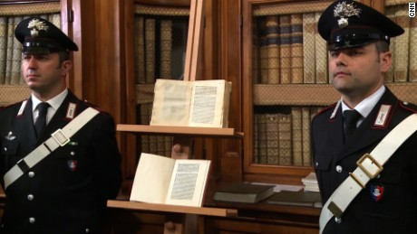 A rare copy of a 15th century letter describing Christopher Columbus' trip to the Americas has been returned to Italian authorities after being stolen from a library in Florence and replaced with a forged copy in 2012.