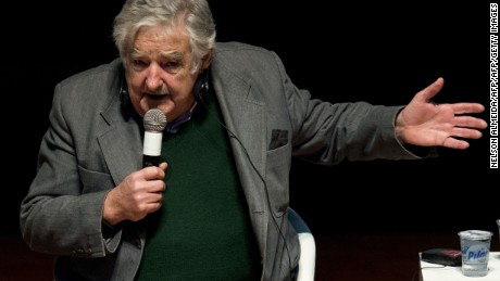 """Uruguayan former president Jose Mujica speaks during the seminar """"Citizen Participation, Democratic Management and the Cities of the 21st Century"""" in Sao Bernardo do Campo, some 25 km from Sao Paulo, Brazil on August 29, 2015.  AFP PHOTO /  NELSON ALMEIDA        (Photo credit should read NELSON ALMEIDA/AFP/Getty Images)"""