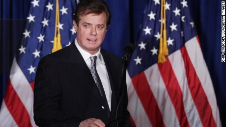 Paul Manafort, advisor to Republican presidential candidate Donald Trump's campaign, checks the teleprompters before Trump's speech at the Mayflower Hotel April 27, 2016 in Washington, DC.