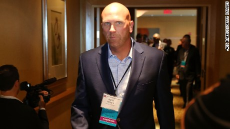 Republican presidential candidate Donald Trump's political strategist Rick Wiley arrives for a Trump for President reception with guests during the Republican National Committee Spring meeting at the Diplomat Resort on April 21 2016 in Hollywood, Florida.