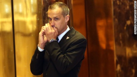 Donald Trump campaign manager Corey Lewandowski speaks on the phone before the Republican presidential candidate makes his way to the podium to speak to supporters and the media at Trump Towers following the conclusion of primaries Tuesday in northeastern states on April 26, 2016 in New York, New York.