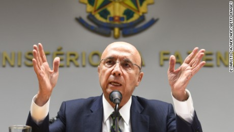 TOPSHOT - New Brazilian Finance Minister Henrique Meirelles speaks during a press conference to announce the names of the new members of the government's economic team in Brasilia on May 17, 2016.  Meirelles named Ilan Goldfajn for the Central Bank, Marcelo Caetano for the Department of Welfare, Mansueto Almeida Junior as Secretary of Economic Monitoring and Carlos Hamilton as Secretary of Economic Policy. / AFP / EVARISTO SA        (Photo credit should read EVARISTO SA/AFP/Getty Images)