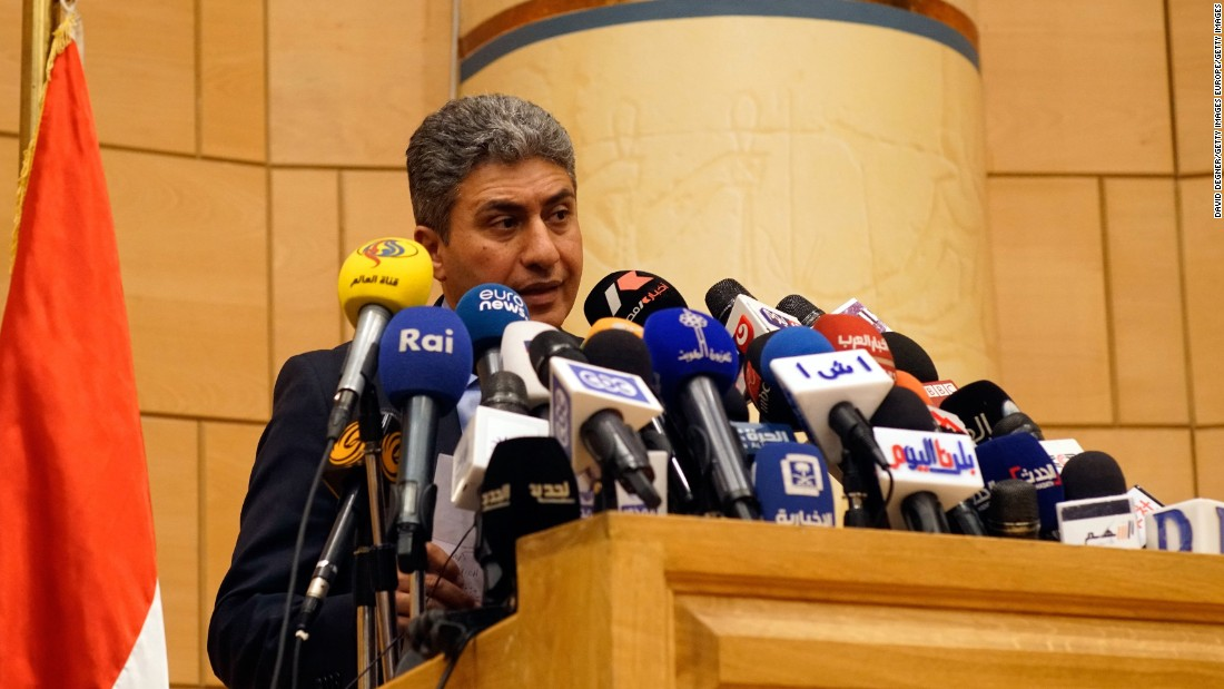 Egyptian Minister of Civil Aviation Sherif Fathi holds a press conference on the missing plane.