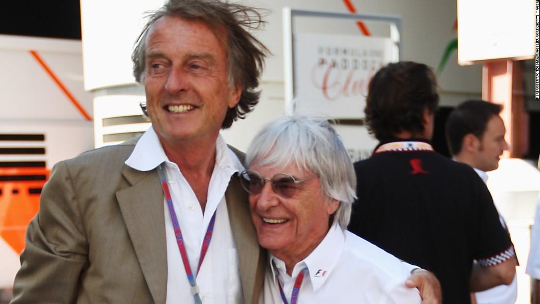 """Ex-Ferrari boss Luca di Montezemolo (L) says F1 supremo Bernie Ecclestone is """"impossible to replace."""""""